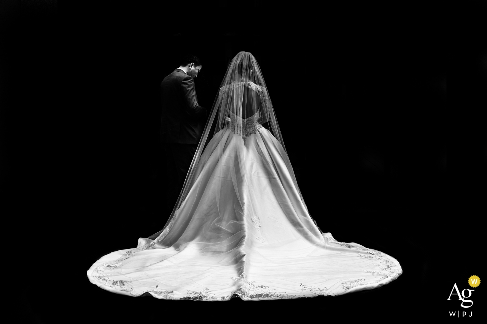 Shaanxi hotel photo in black and white of the Bride and father