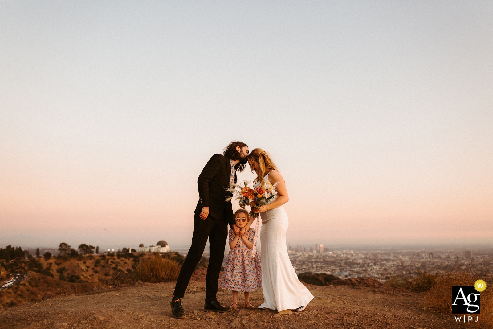 Griffith Park, Los Angeles, CA wedding portrait in the hills | Little family elopement
