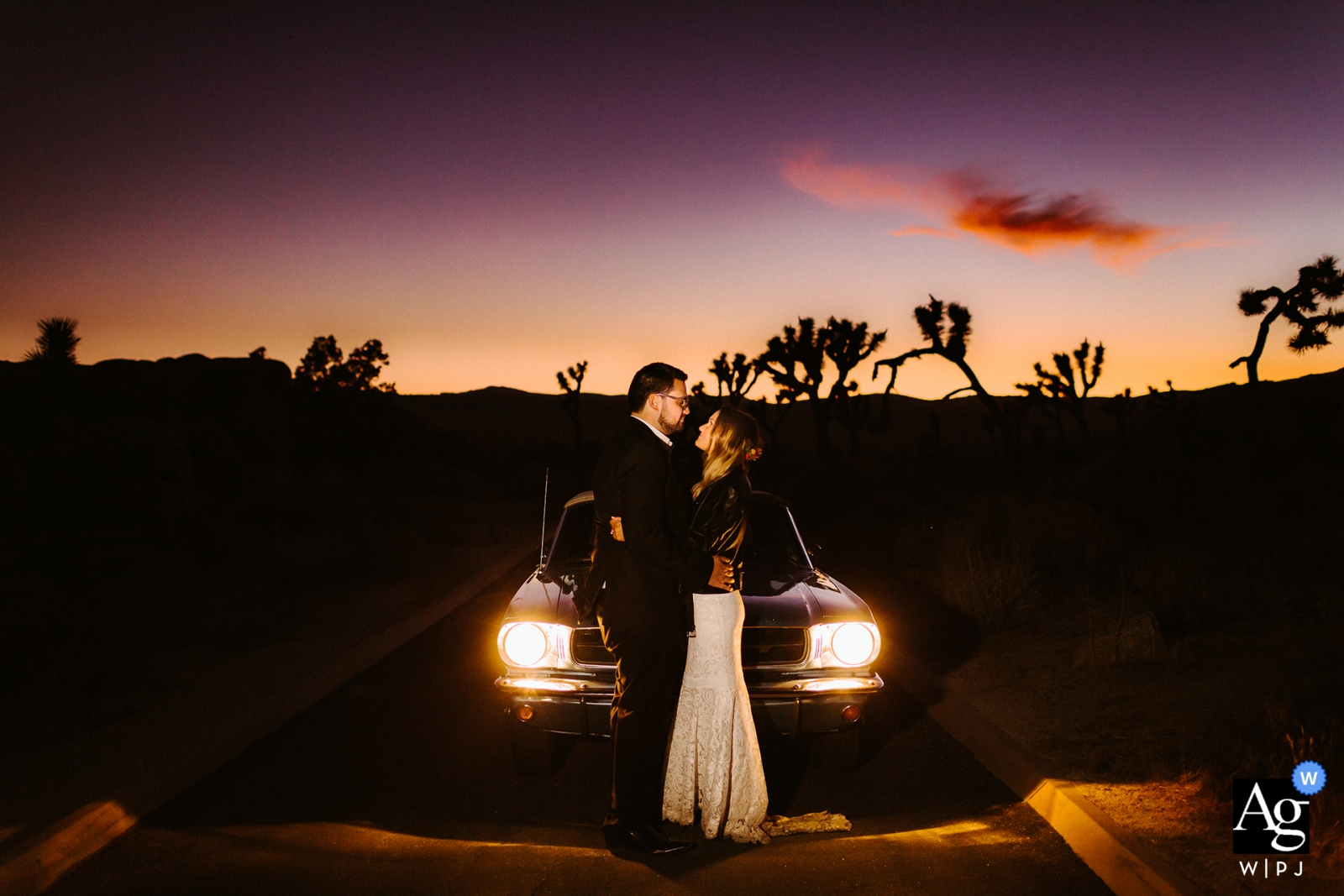 JOSHUA TREE, CA weddings | Sunset portrait with couple and their mustang