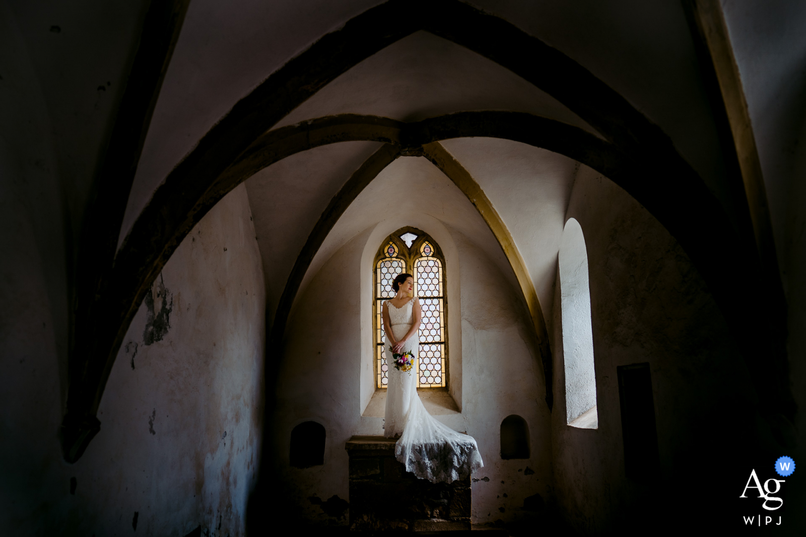 Neckargemünd bride posing for an indoor wedding portrait in Germany