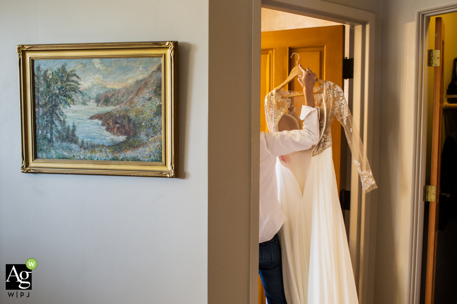 Ramekins Culinary School, Events & Inn, Sonoma fine art wedding detail photography picture showing the Hurrying to get changed