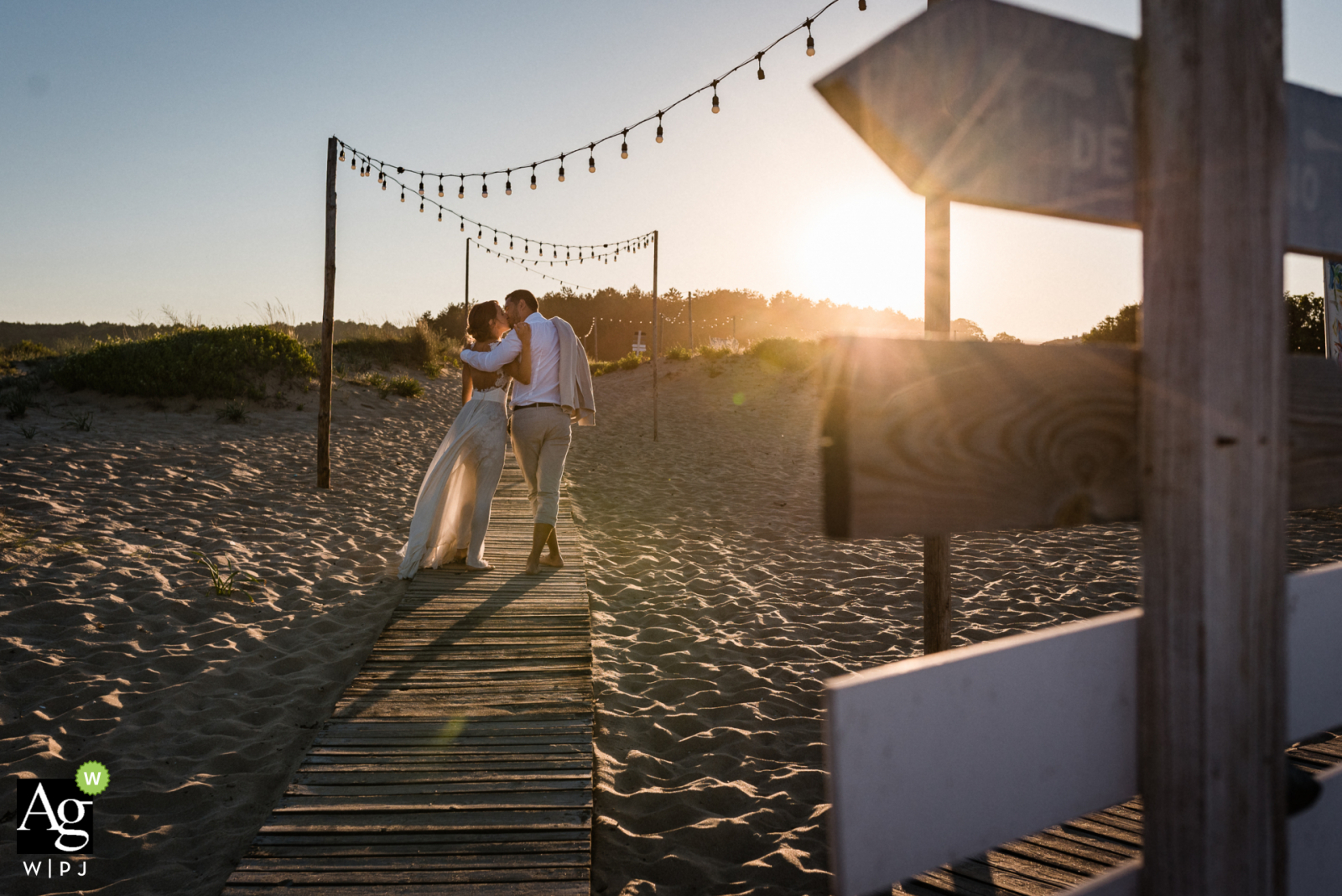 Sozopol, Bulgaria creative wedding day Photo from the shoot we did with the couple, right after the ceremony on the beach boardwalk over the sand