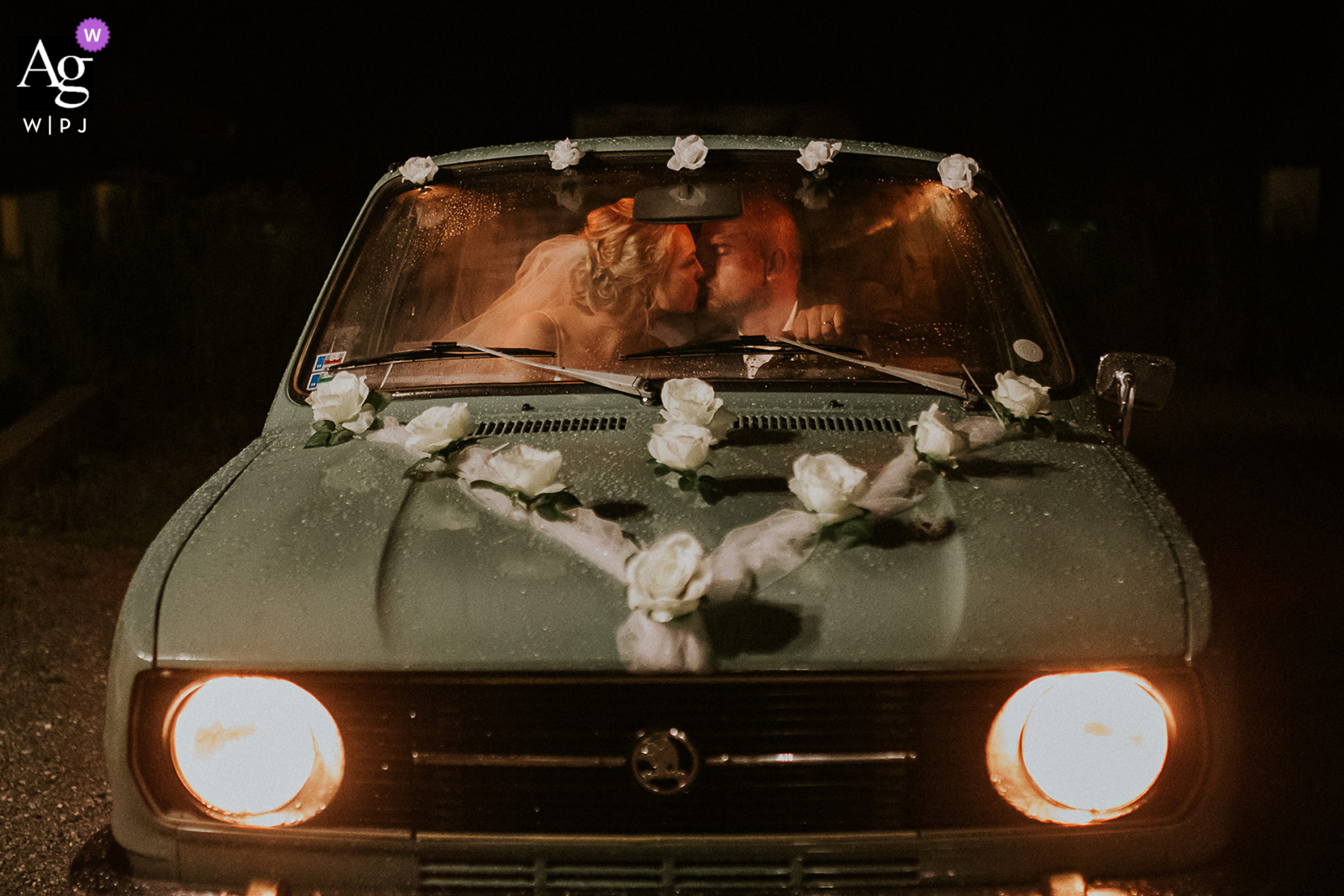 Banska Bystrica, Slovakia wedding portrait of the bride and groom in the groom´s old car