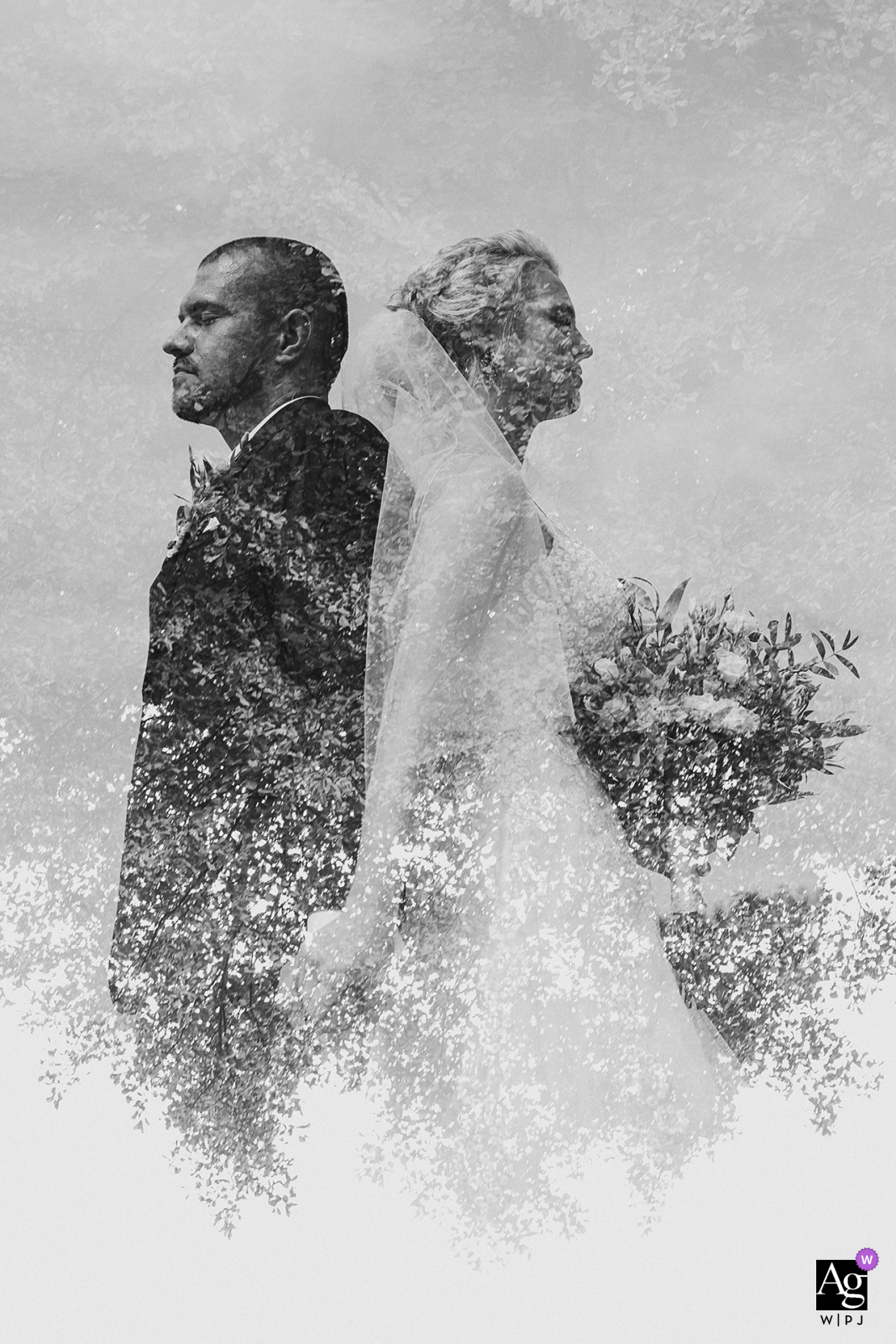 Double exposure portrait of the bride and groom in Banska Bystrica, Slovakia