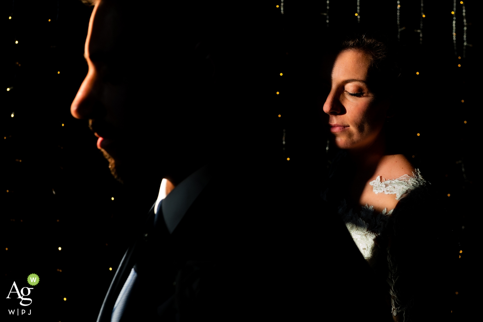 Stanjel Castle, Slovenia artistic wedding couple portrait making good use of the available Lights and shadows