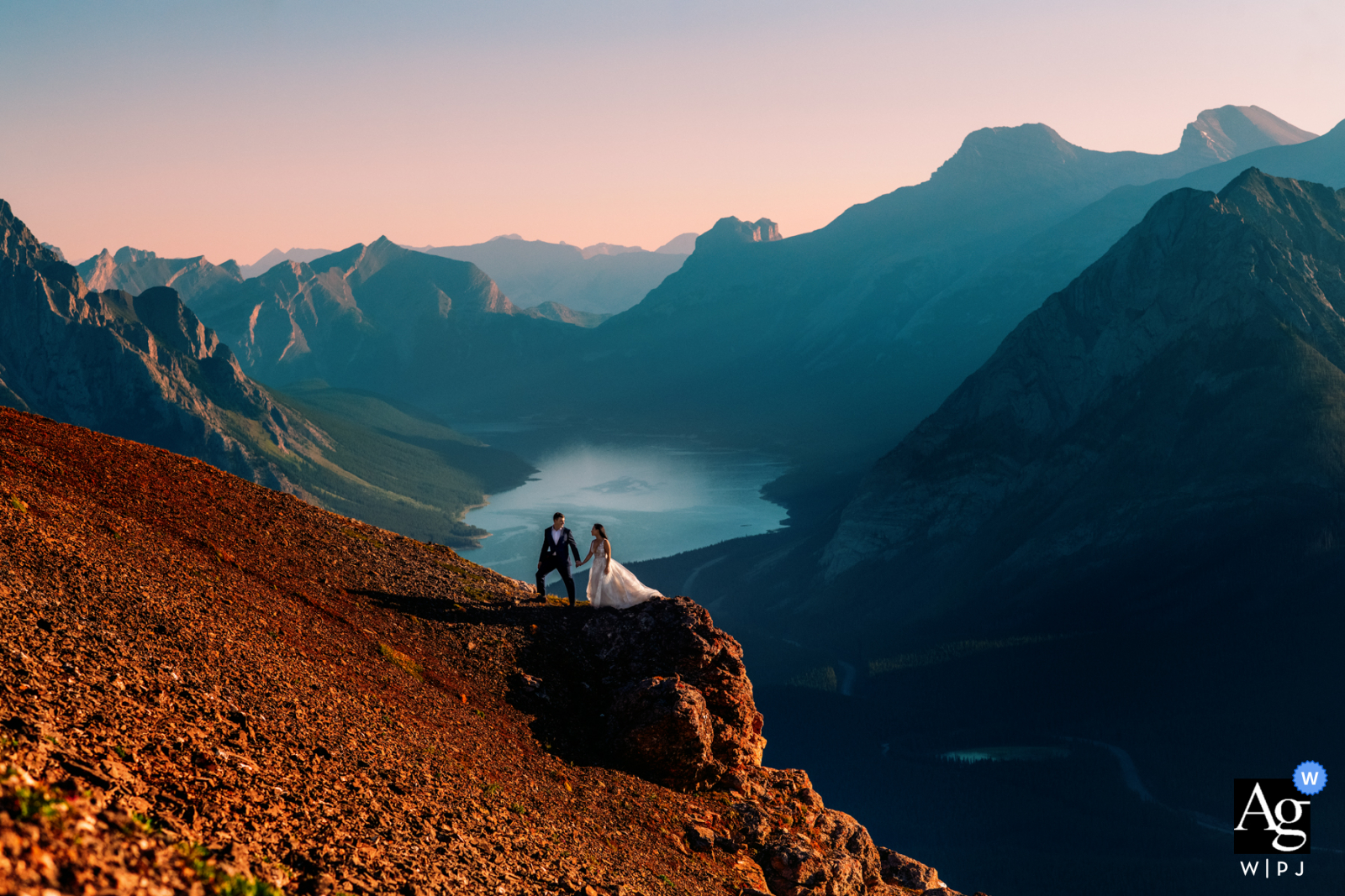 Tent Ridge, Kananaskis, AB, Canada wedding image of the couple Enjoying the time together in the mountains