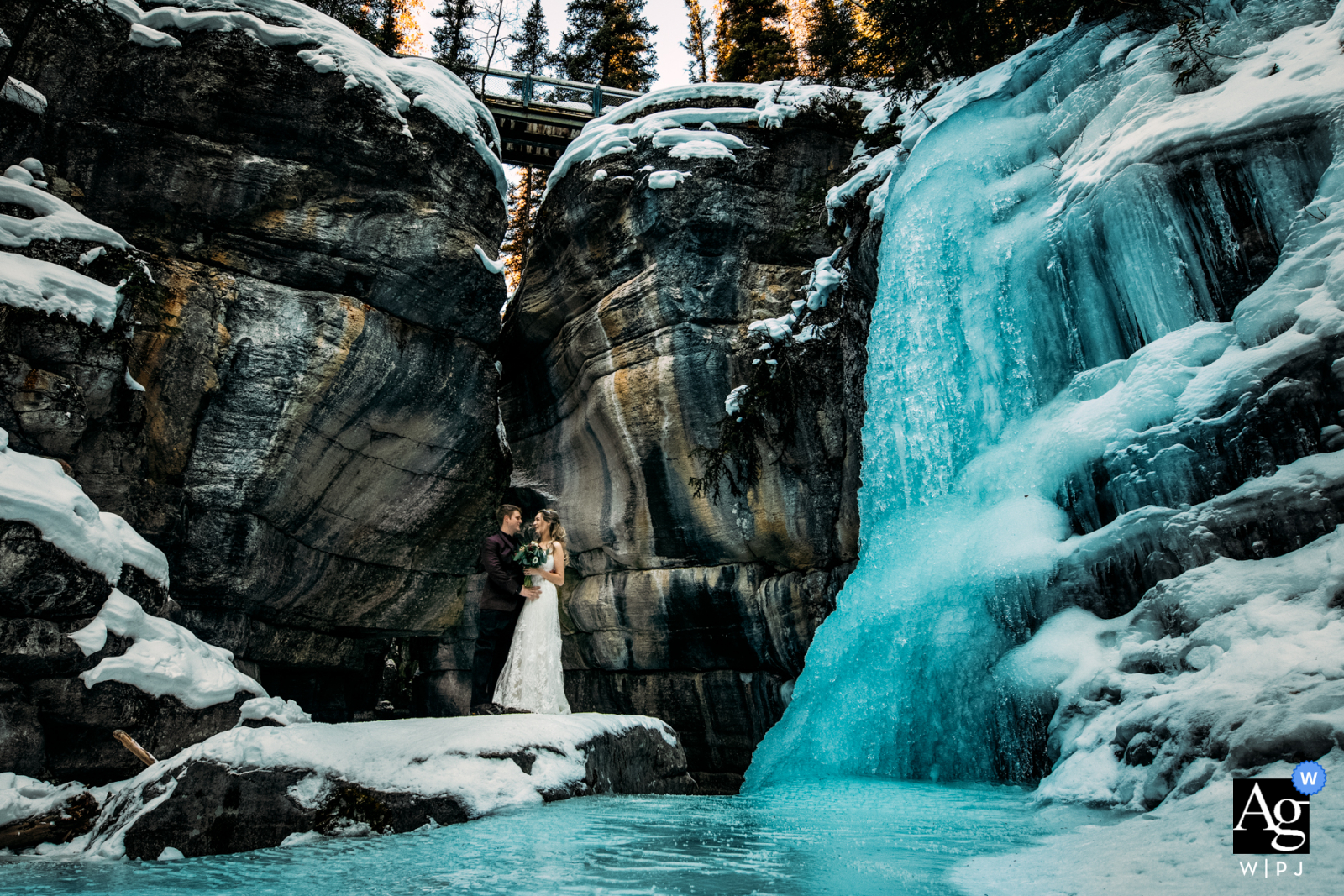 Maligne Canyon, AB, Canada artistic wedding photo of Love in the Canyon