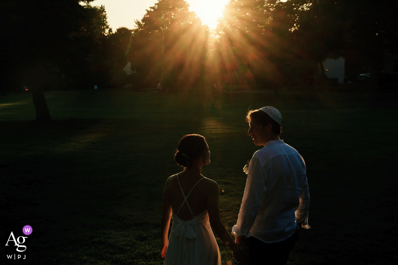 Endicott Estate, Dedham, MA artistic wedding picture with a Sunset vibes. During the reception - captured about 5 photos