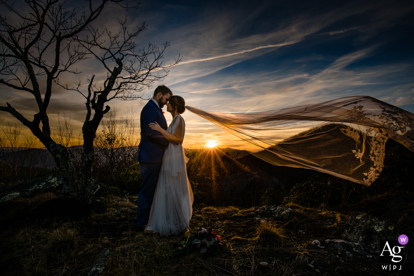 Jefferson, NC wedding portrait captured by photographer using the ridge lines and wind, I waited for the moment where the bride's veil took the same shape as the mountains. Sunset plus the wind added some drama to this image at the Twickenham House
