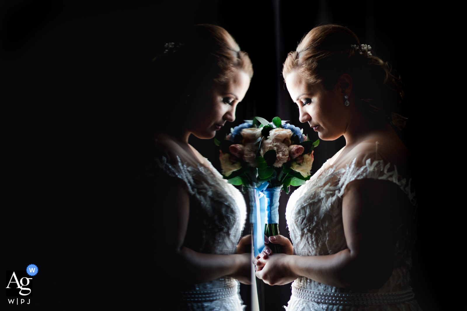 Best Western Inter Expo Hotel, Sofia portrait of the bride's reflection with her flowers