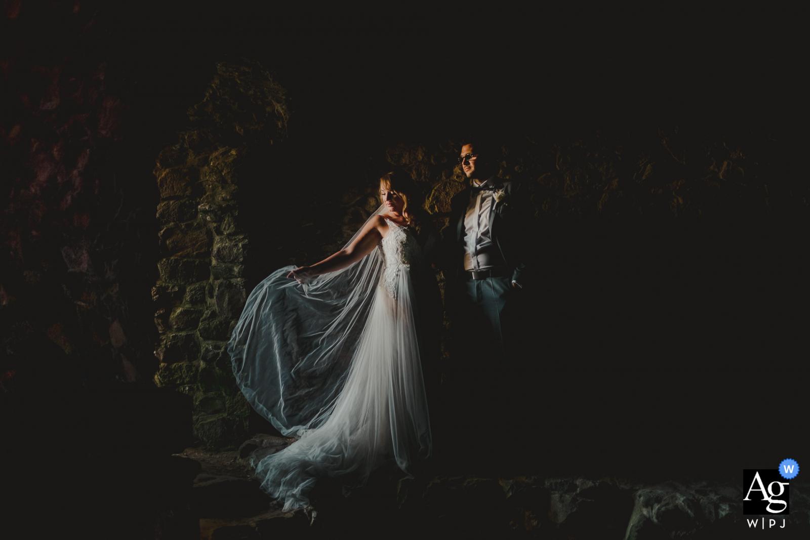 Gleisberg artistic wedding photo of the Bride and groom in great lighting