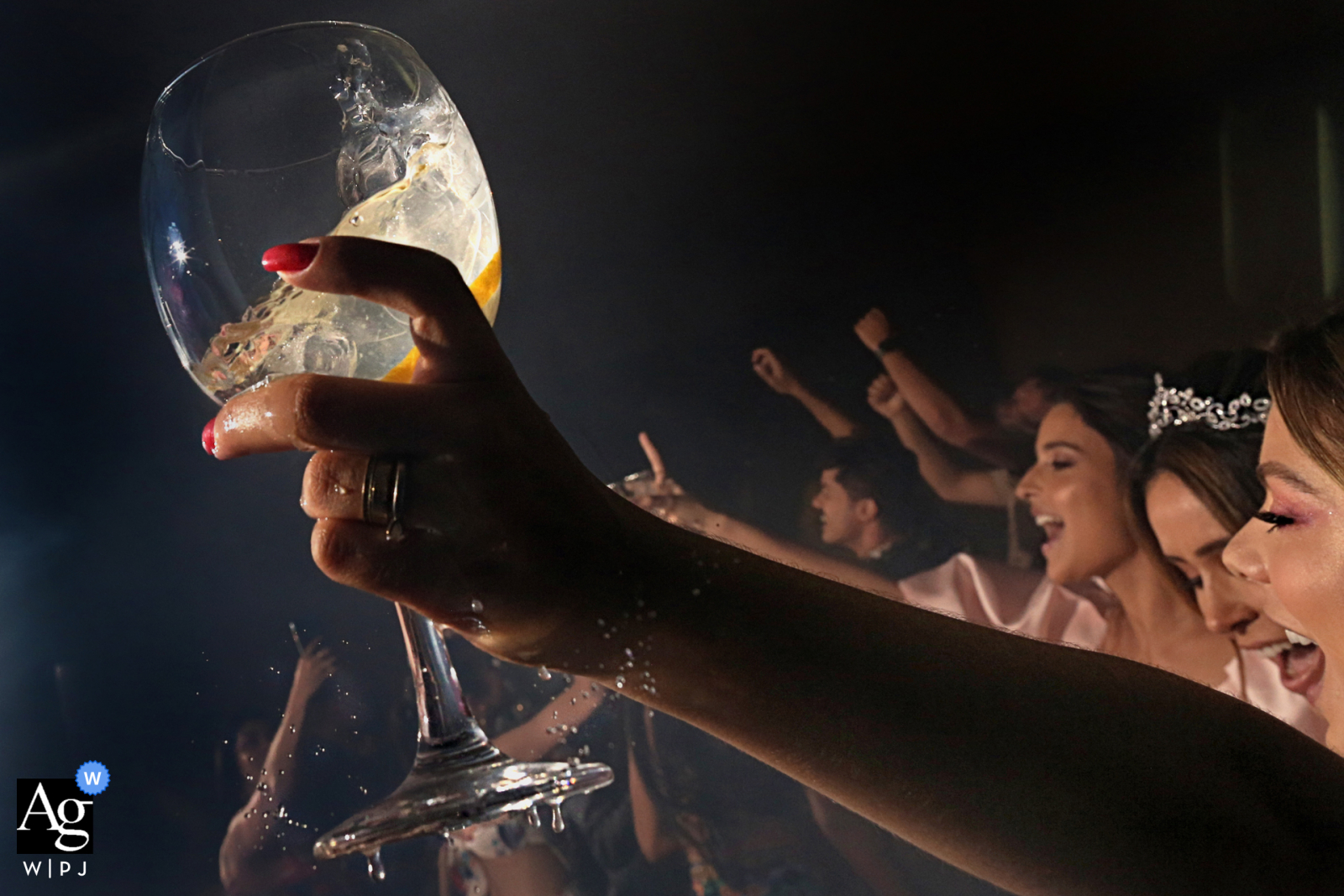 Artistic detail of a glass during a toast at the Villa Borguese Anápolis in Brazil