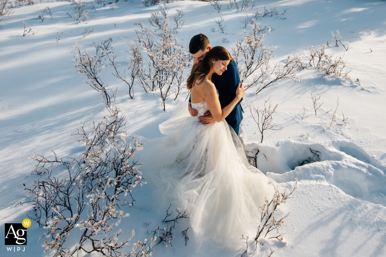 Winter Wonderland wedding photo of a couple embracing in a snowy landscape at Bow Lake in Alberta, Canada