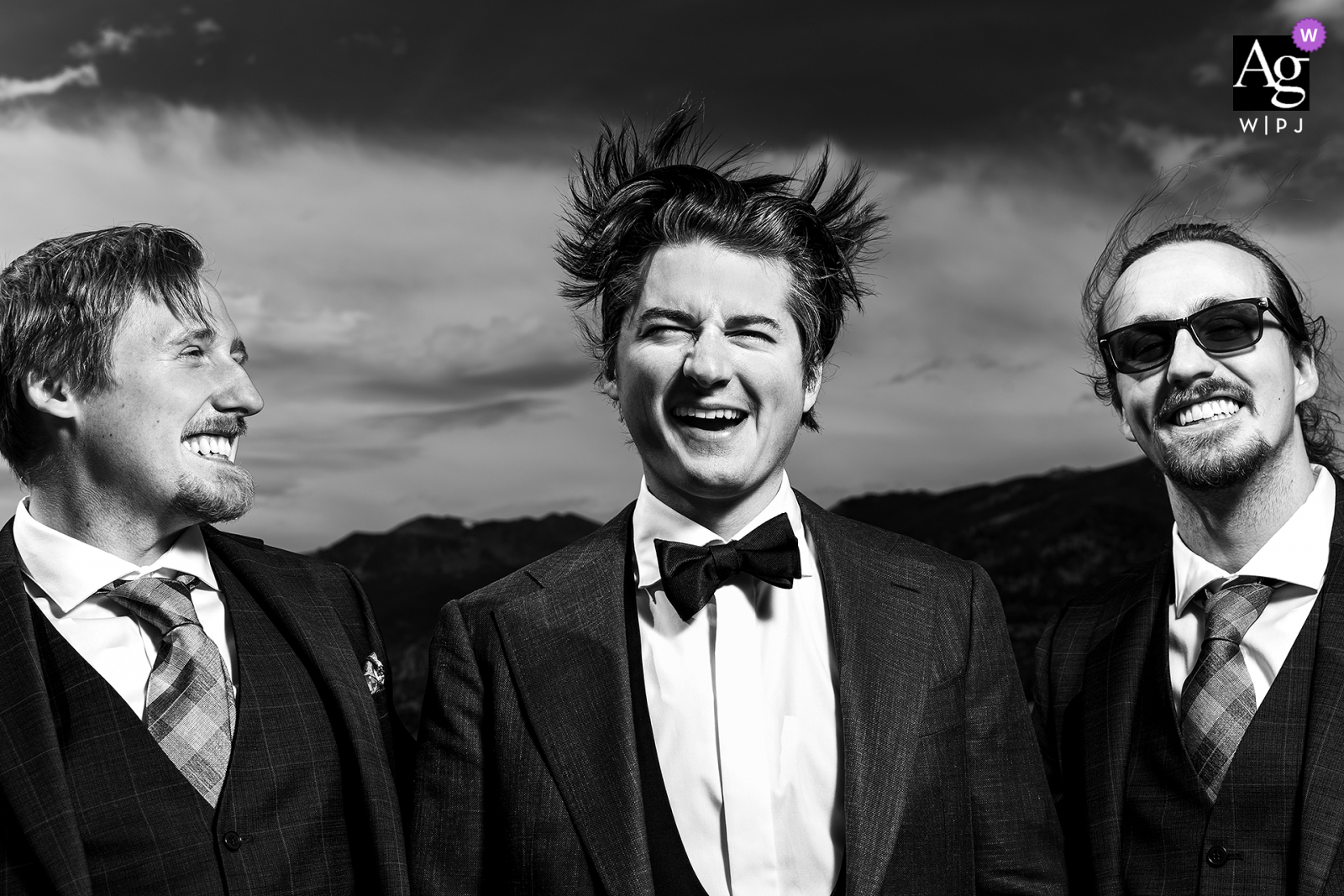 Rocky Mountain National Park, Estes Park, CO fine art wedding detail pic of the groom's hair blowing in the wind