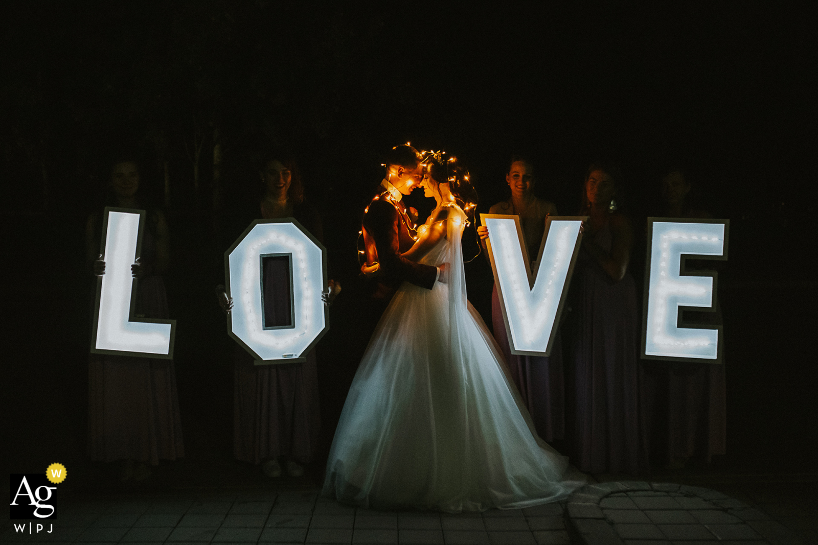 Braunsberg, Austria creative couple wedding portrait of the Bride and Groom with tea lights and a LOVE sign