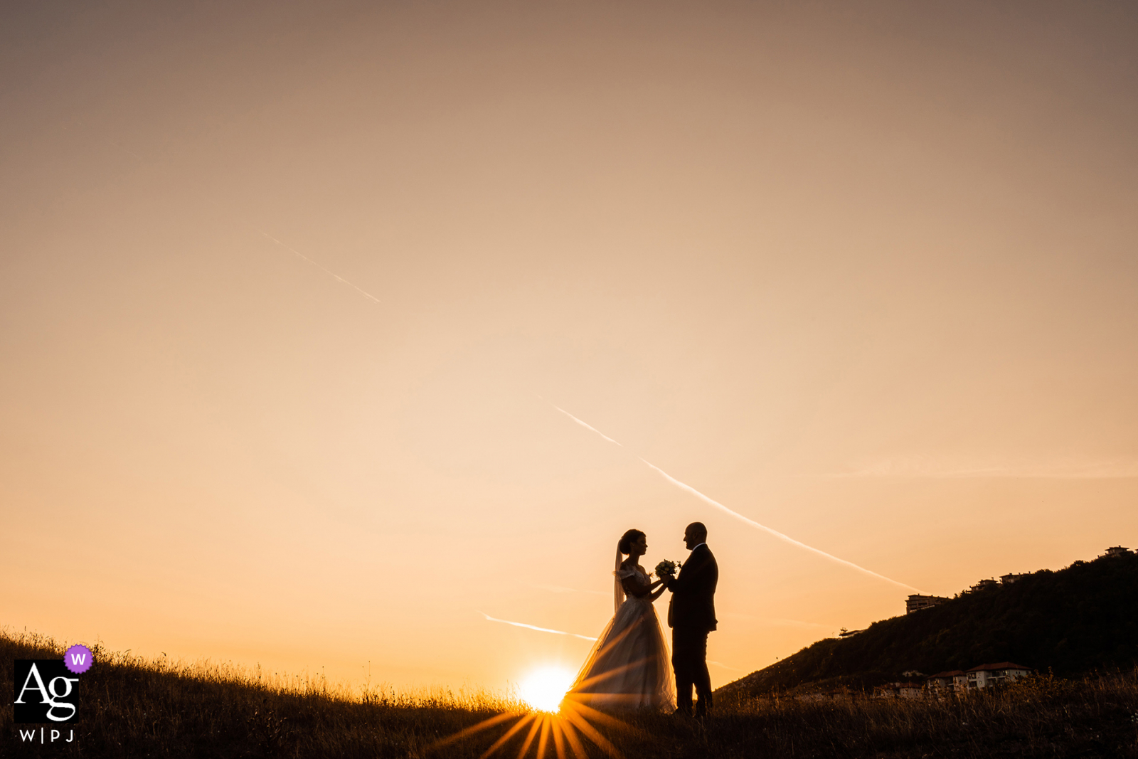 Thracian Cliffs Resort, Kavarna, Bulgaria creative wedding day portrait against a wonderful sunset for the newlyweds to go outside and take that lovely sun