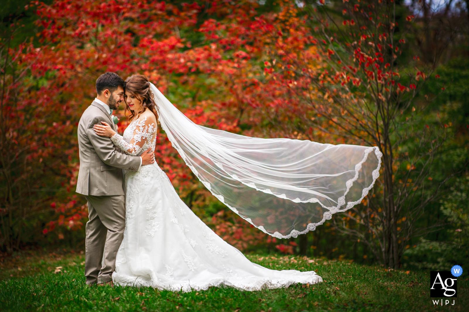 Koper, Slovenia fine art wedding couple portrait with some amazing Autumn colours