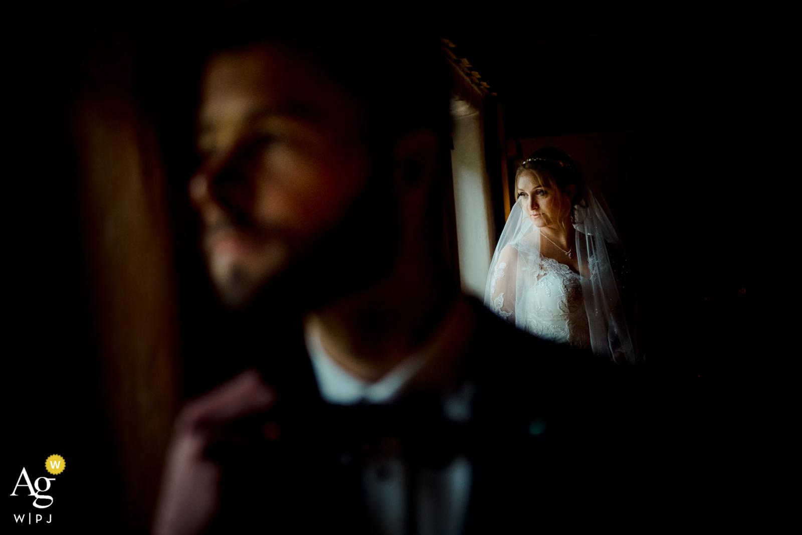 Sonthofen creative couple wedding portrait in some soft window light