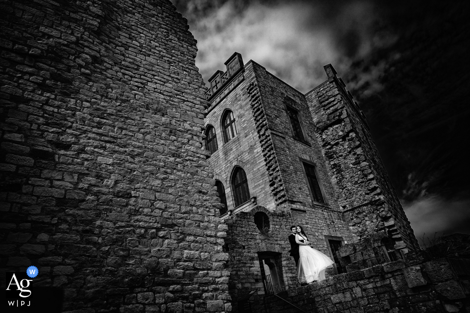 Hambacher Schloss fine art wedding couple portrait with the dramatic castle as the background