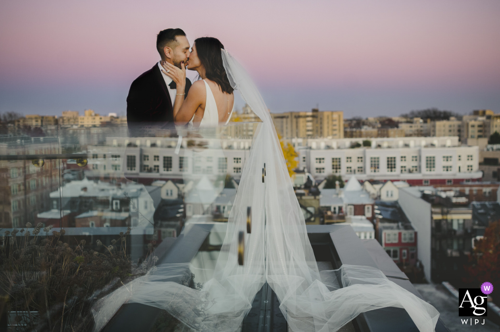 The Line, Washington DC creative couple wedding portrait with the feeling of Floating like clouds in the city