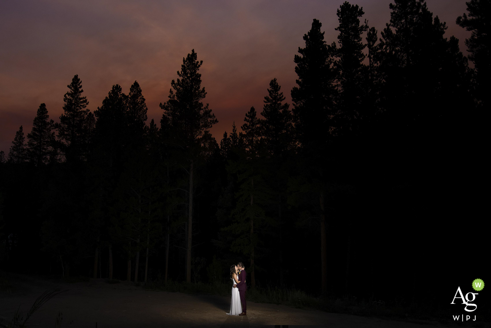 Black Hawk, CO bride and groom wedding portrait session during sunset after their elopement ceremony