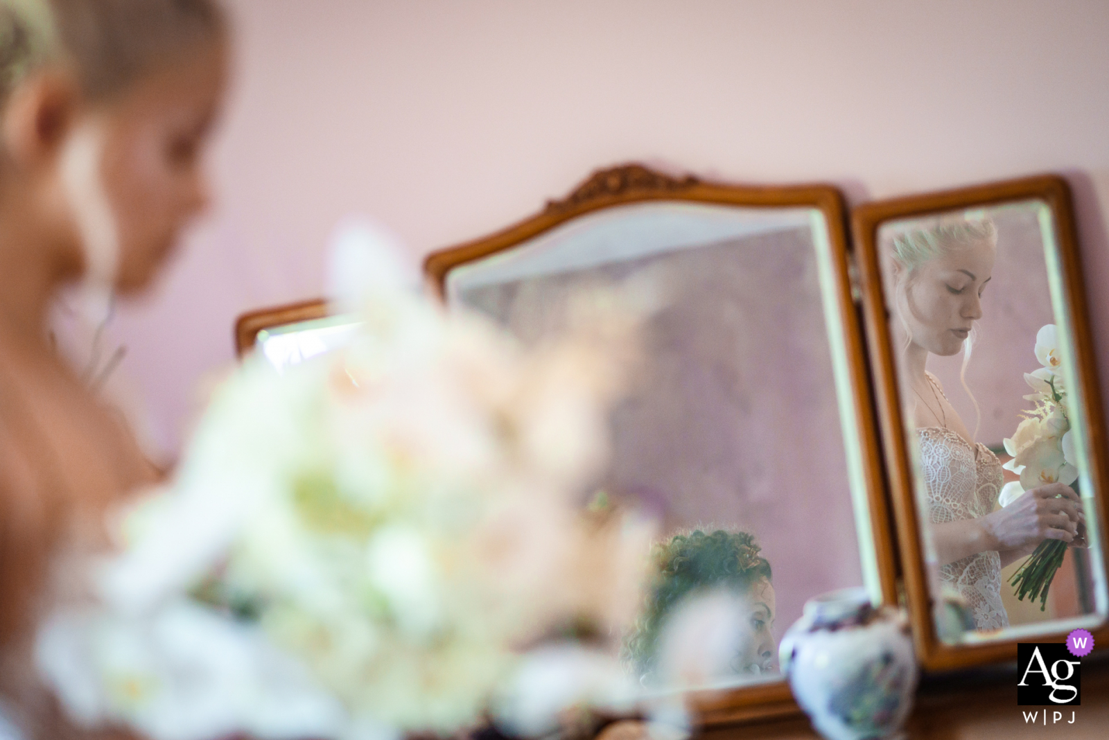 Sofia, Bulgaria creative bridal reflection mirror wedding Portrait of the bride in the old mirror of her grandmother