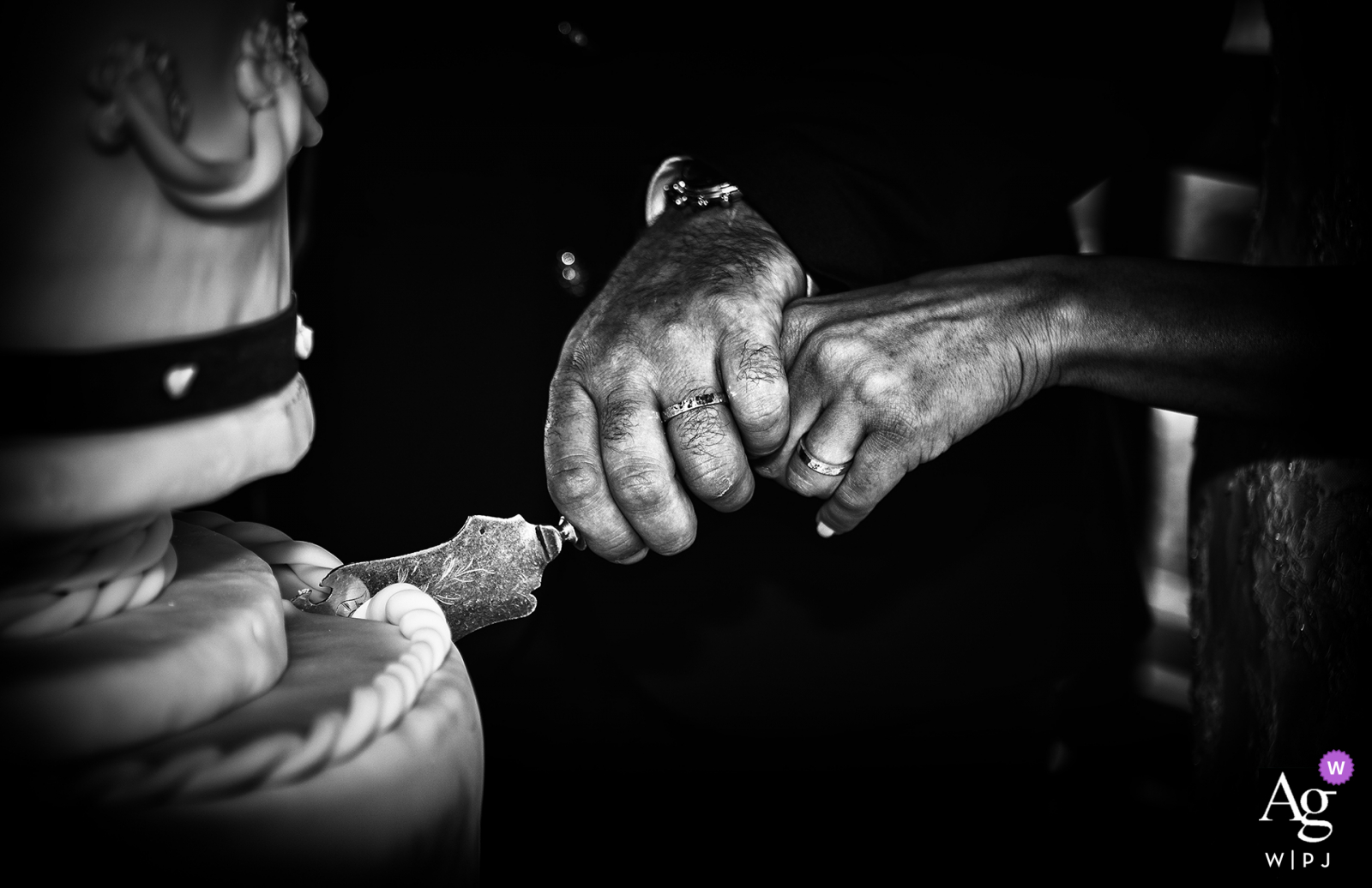 Rome, Italy fine art wedding cake cutting hands detail image
