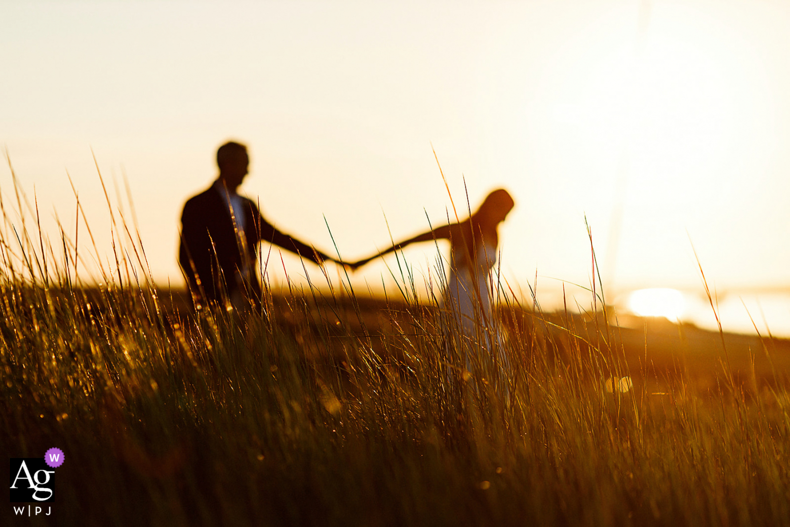 Barnstable, MA creative soft focus fields wedding image at sunset