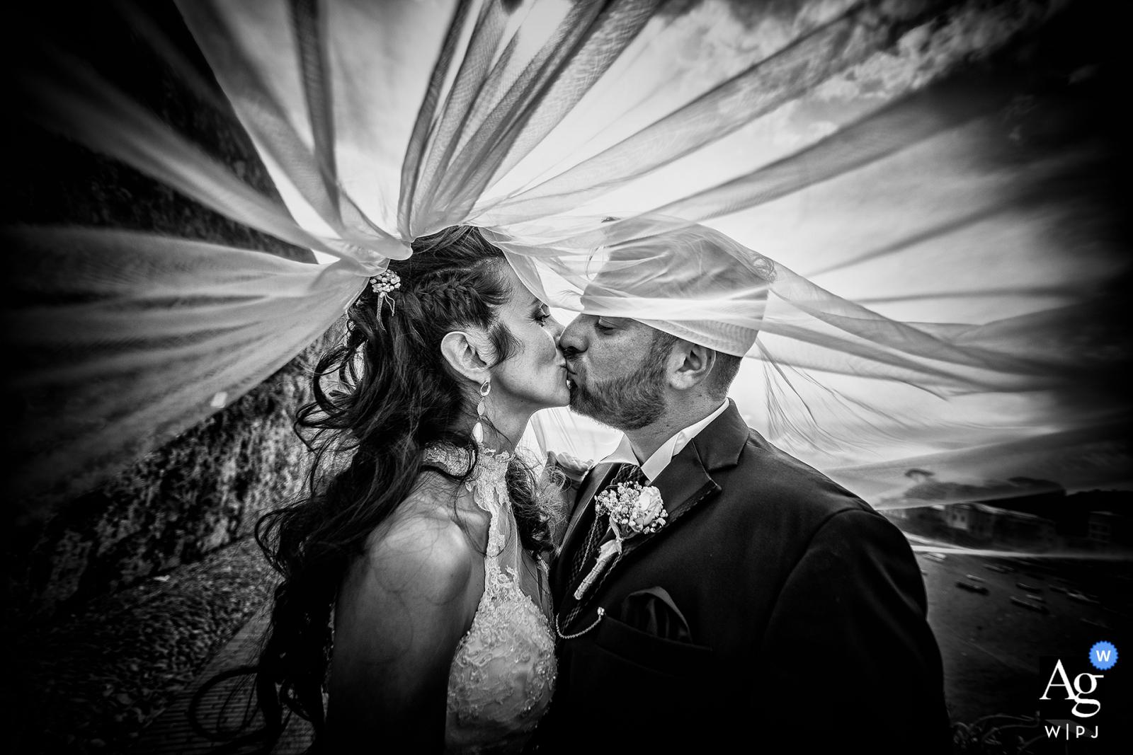 Sestri Levante Baia del Silenzio creative veil art wedding image