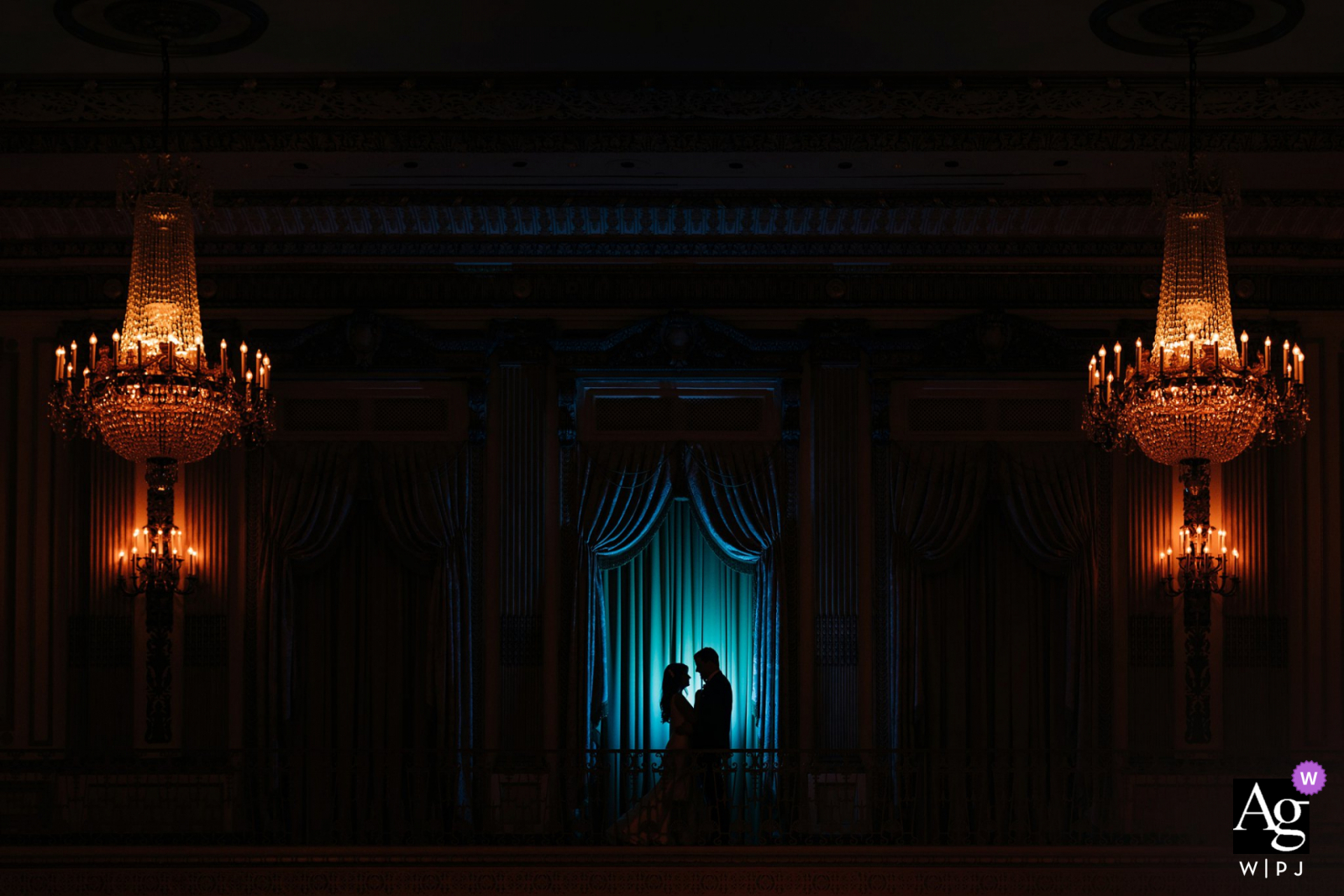 Palmer House Hotel, Chicago creative lit silhouette wedding portrait in great light