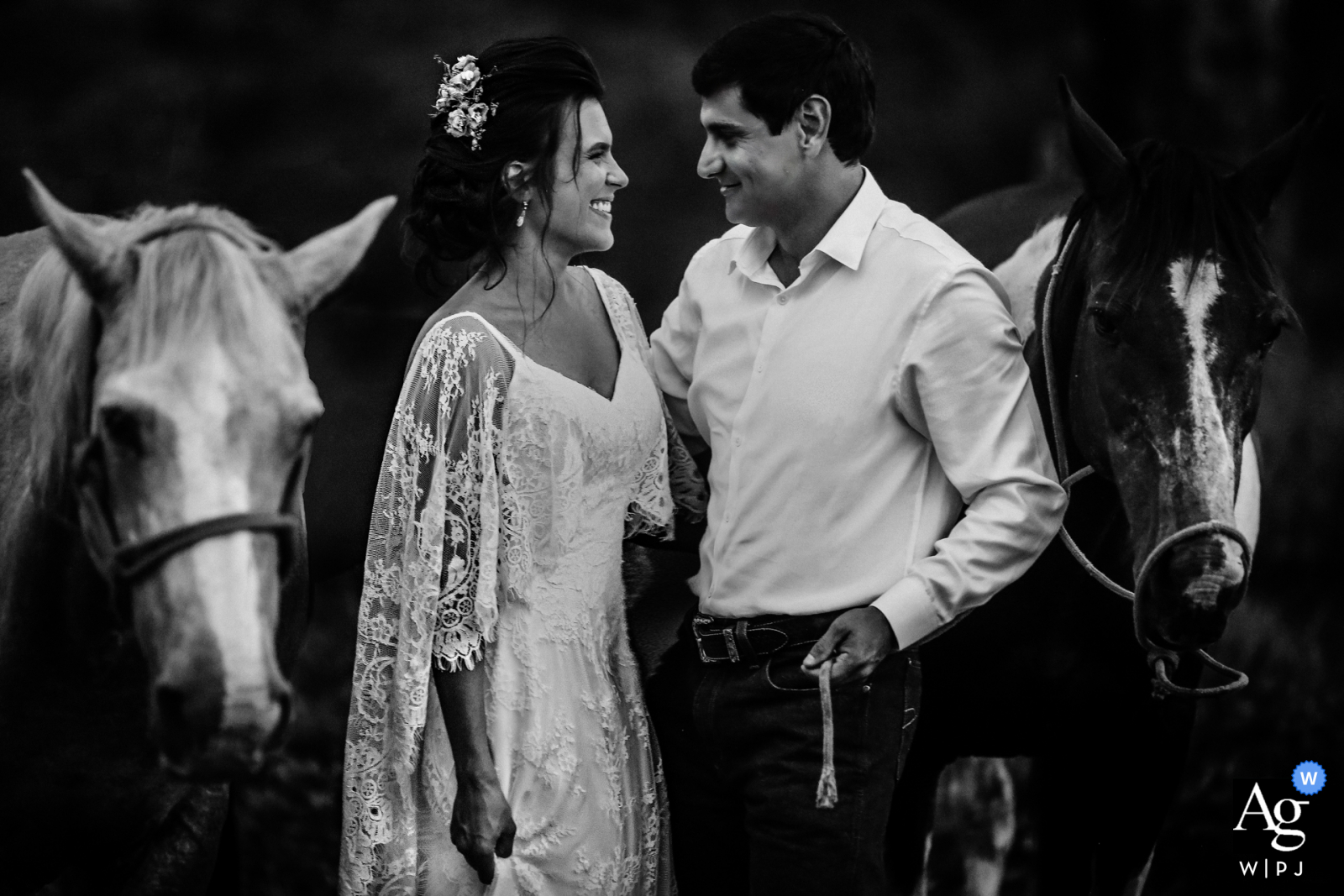 Chácara dos noivos rural wedding couple portrait in black and white with two horses