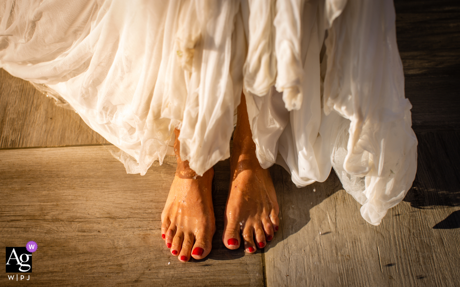 Fleurance, Gers, France fine art wedding detail picture of The bride's feet in sunlight