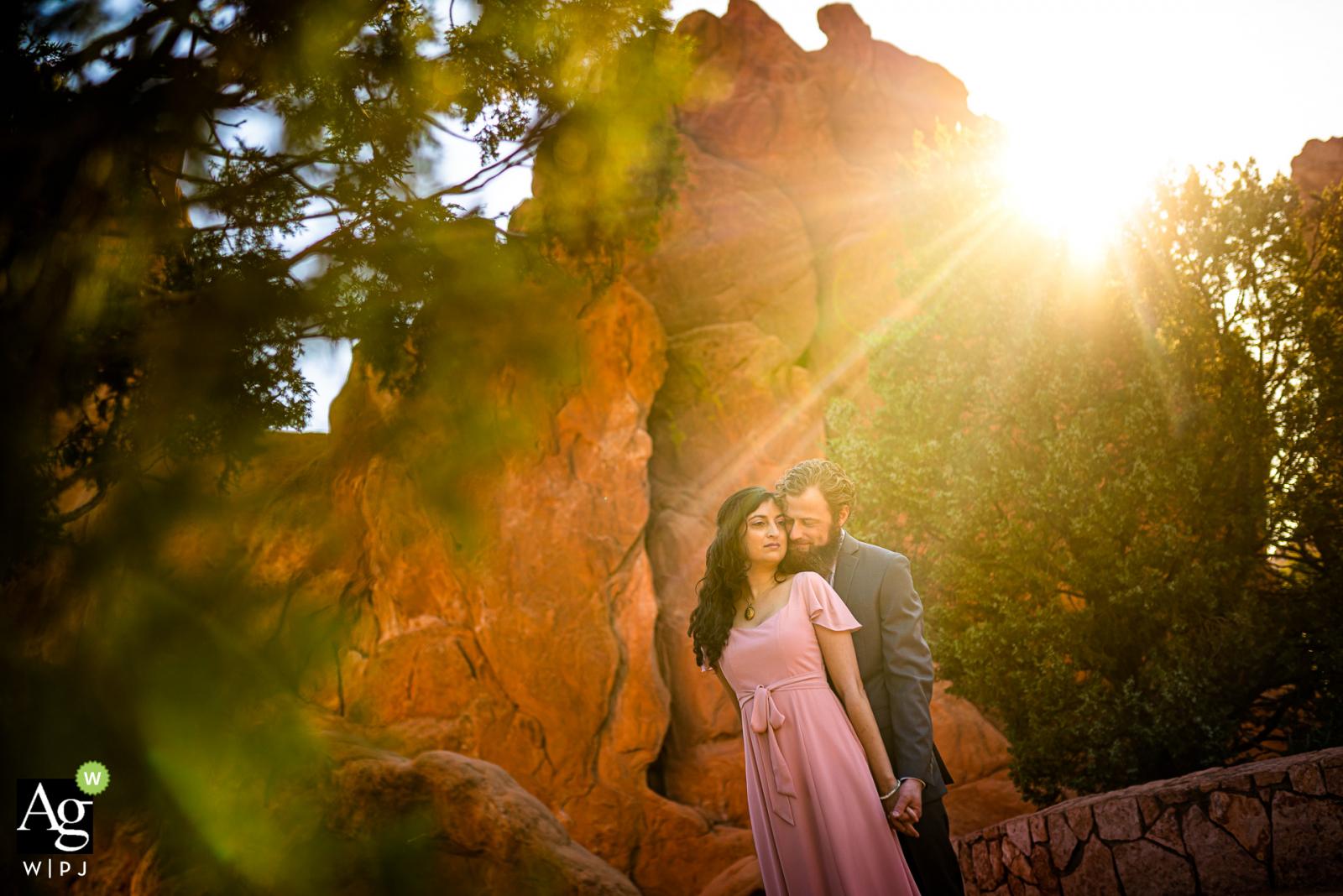 Garden of the Gods Club & Resort, Colorado Springs, Colorado wedding couple posed portrait session after their sunrise wedding ceremony