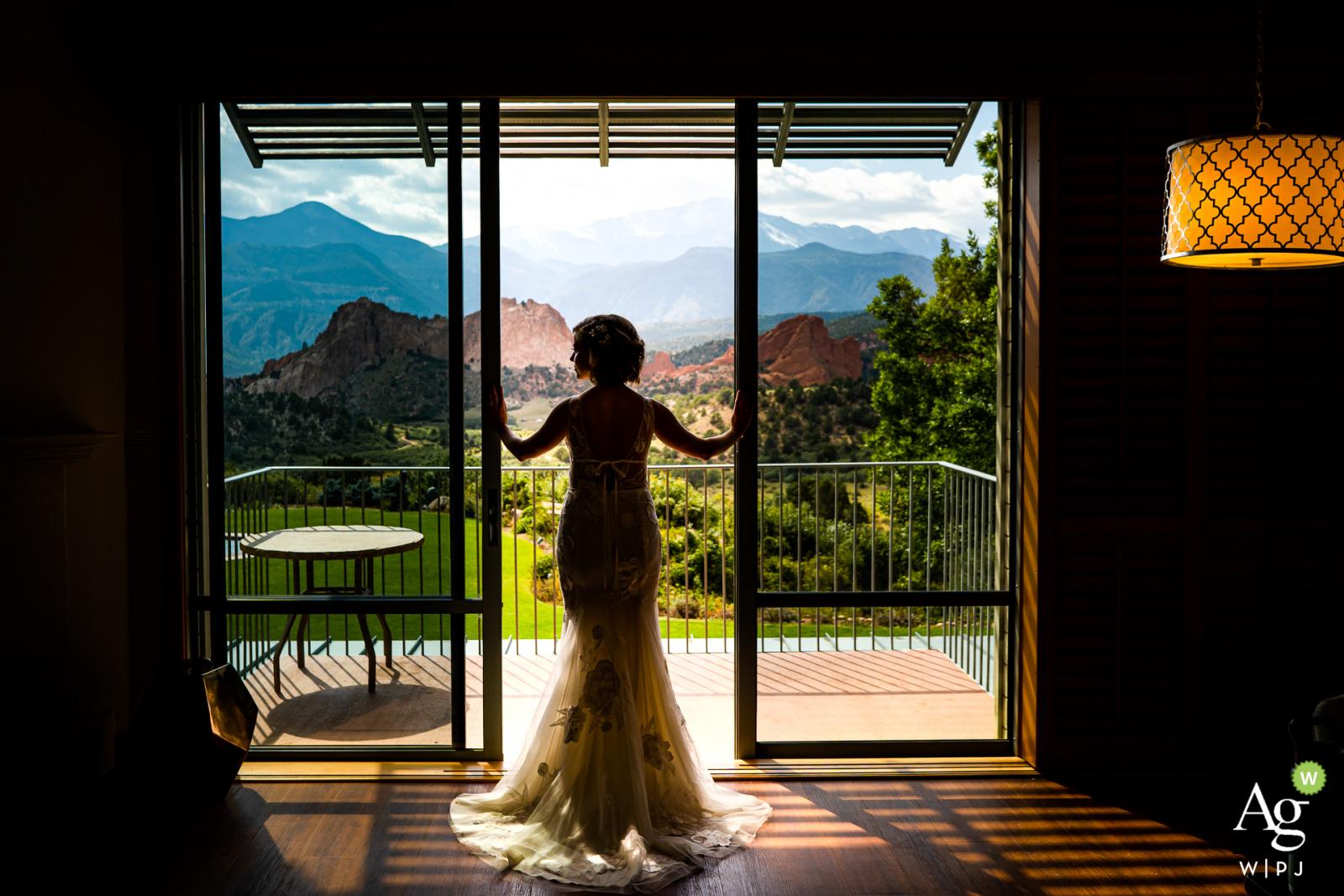 Garden of the Gods Club & Resort, Colorado Springs, Colorado bride posing for wedding images