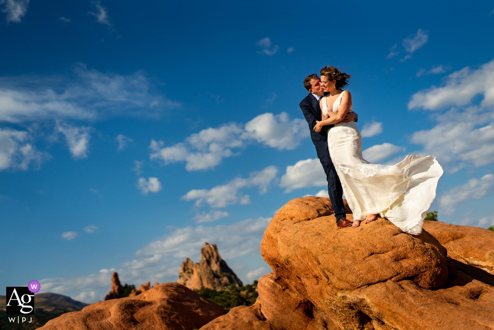 Artistic wedding photo from Garden of the Gods Park - Colorado Springs, Colorado during portraits on their wedding day