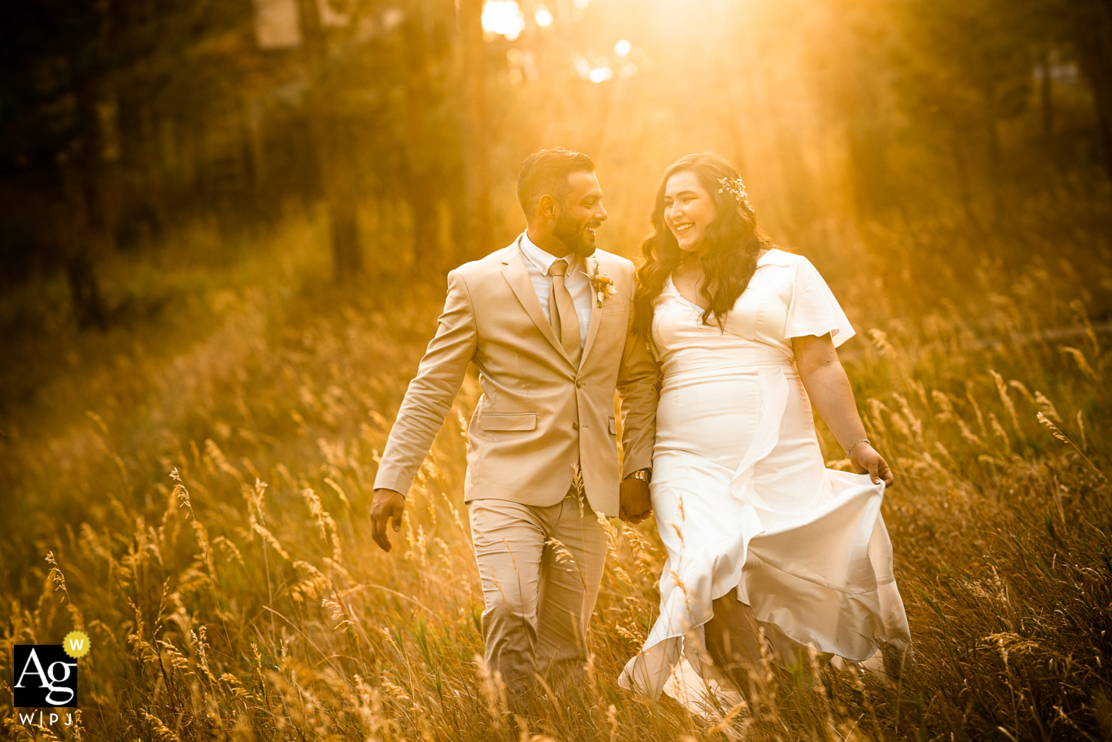 Lookout Mountain - Golden, CO bride and groom walk together during portraits after getting married at the courthouse