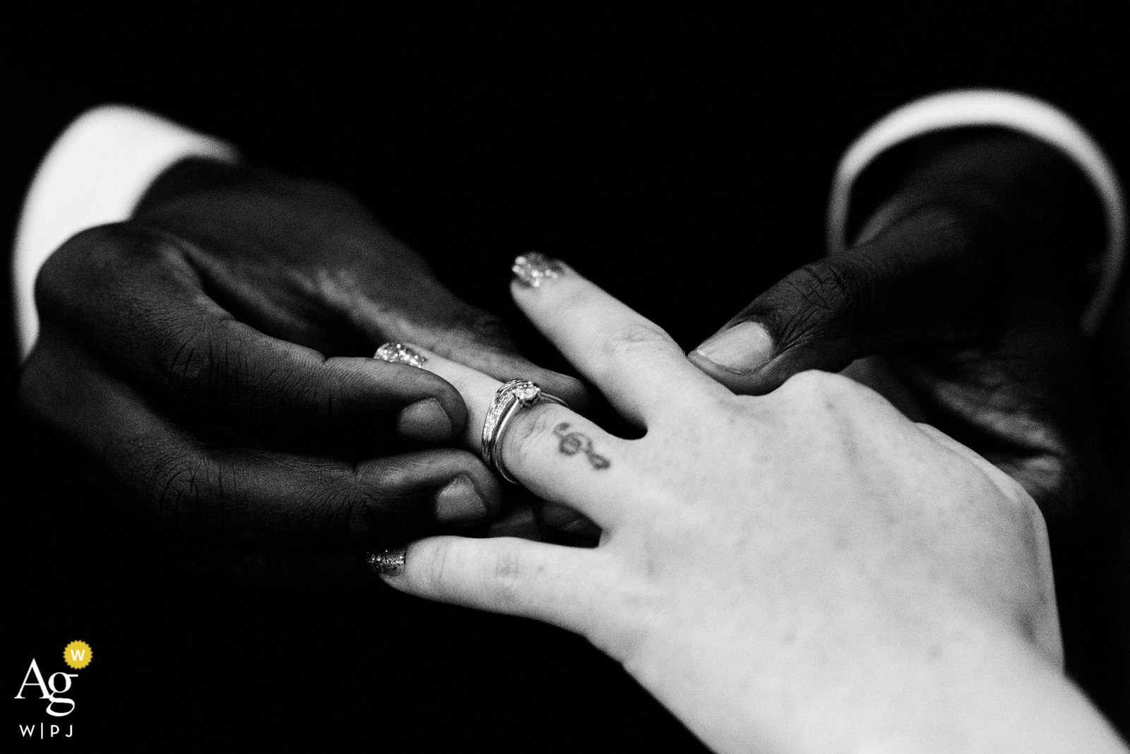 Wedding photography from a Church in Croydon, UK showing the Exchange of the rings