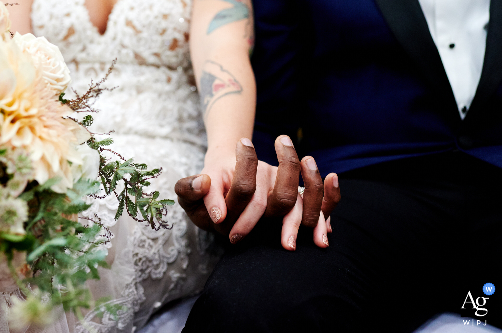Creative wedding photo from a Church in Croydon, UK of the Bride and groom holding hands