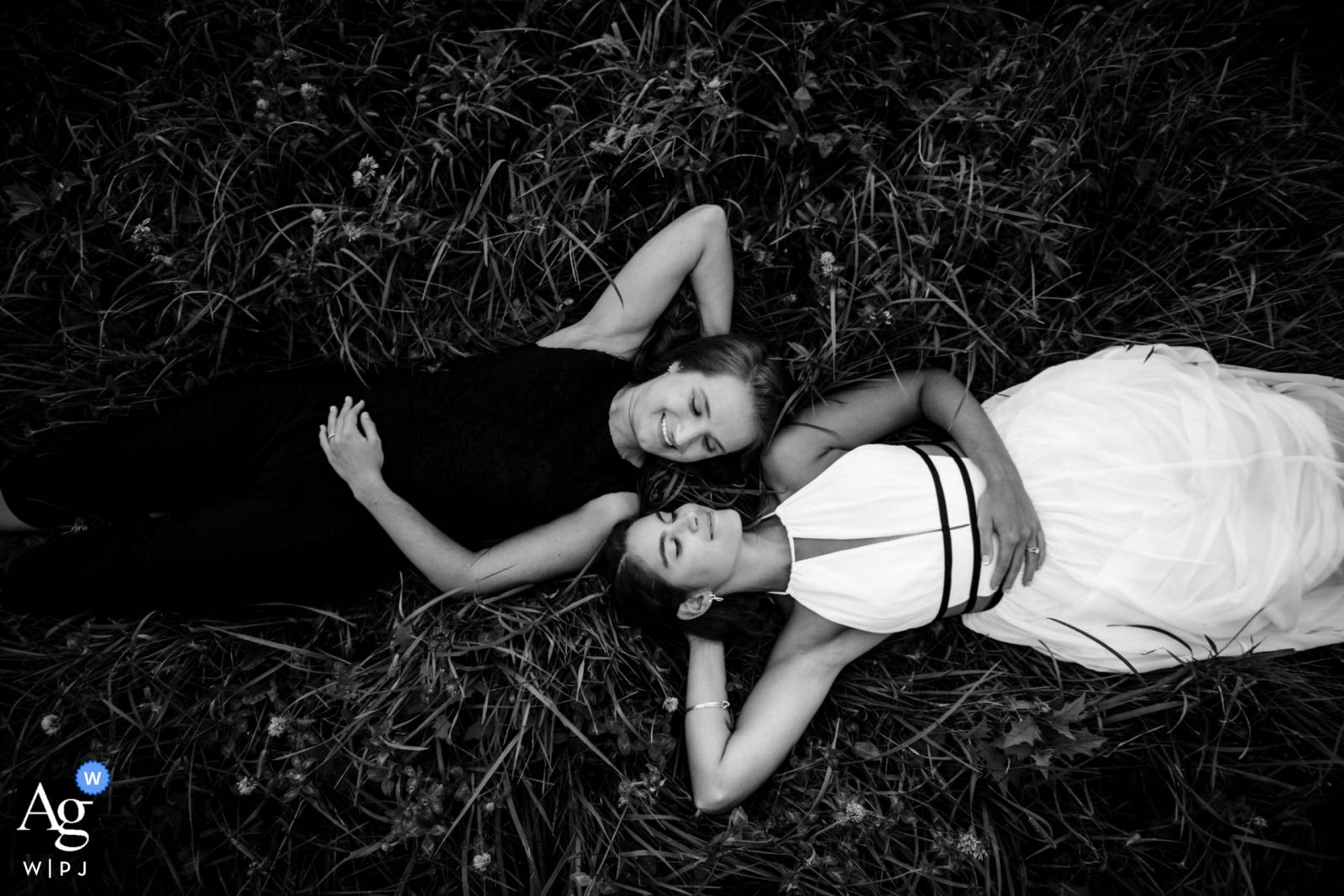 Maryland Backyard Wedding portrait - Lying in the grass