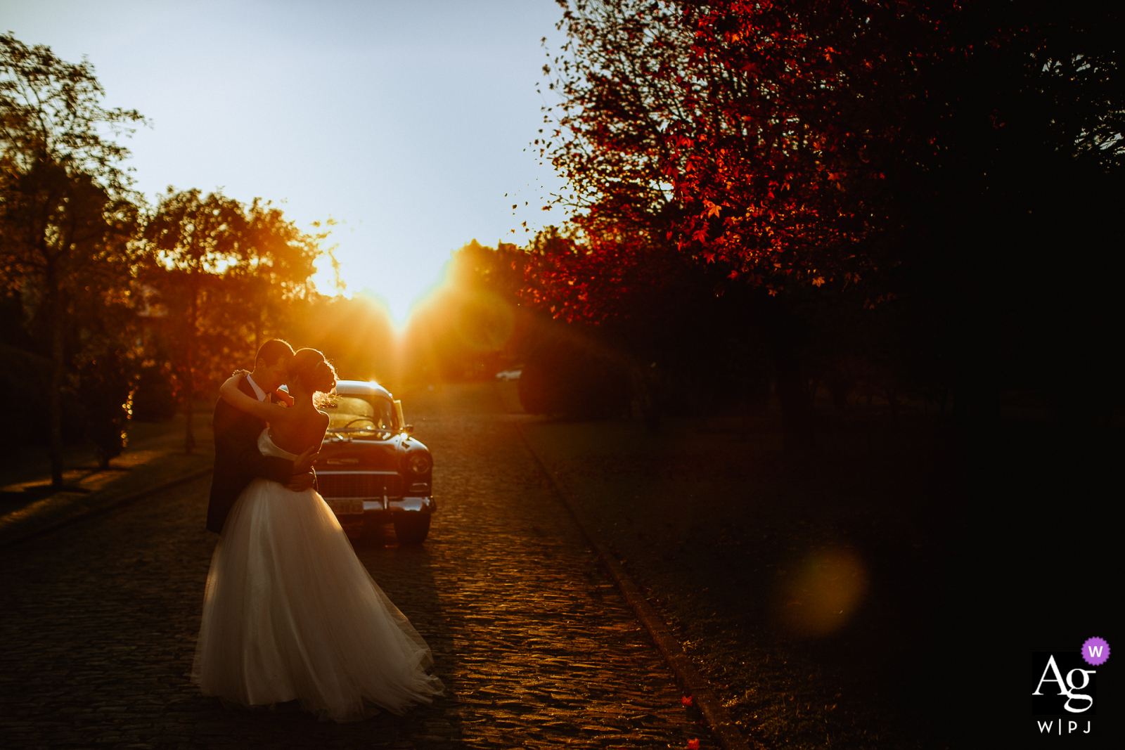 Gramado - Brazil Bride and groom dancing at sunset in this creative wedding photo
