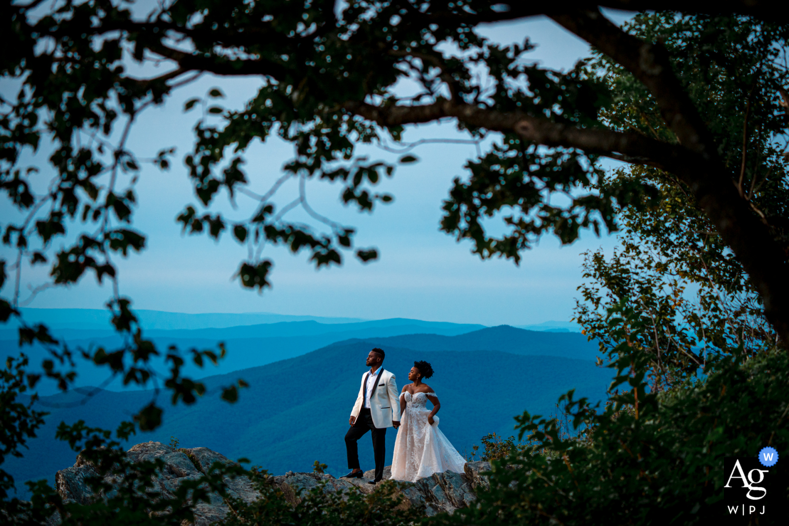 Artistic wedding photo from Little Stoneyman, Shenandoah National Park showing Hand in hand, the couple is proud of their relationship