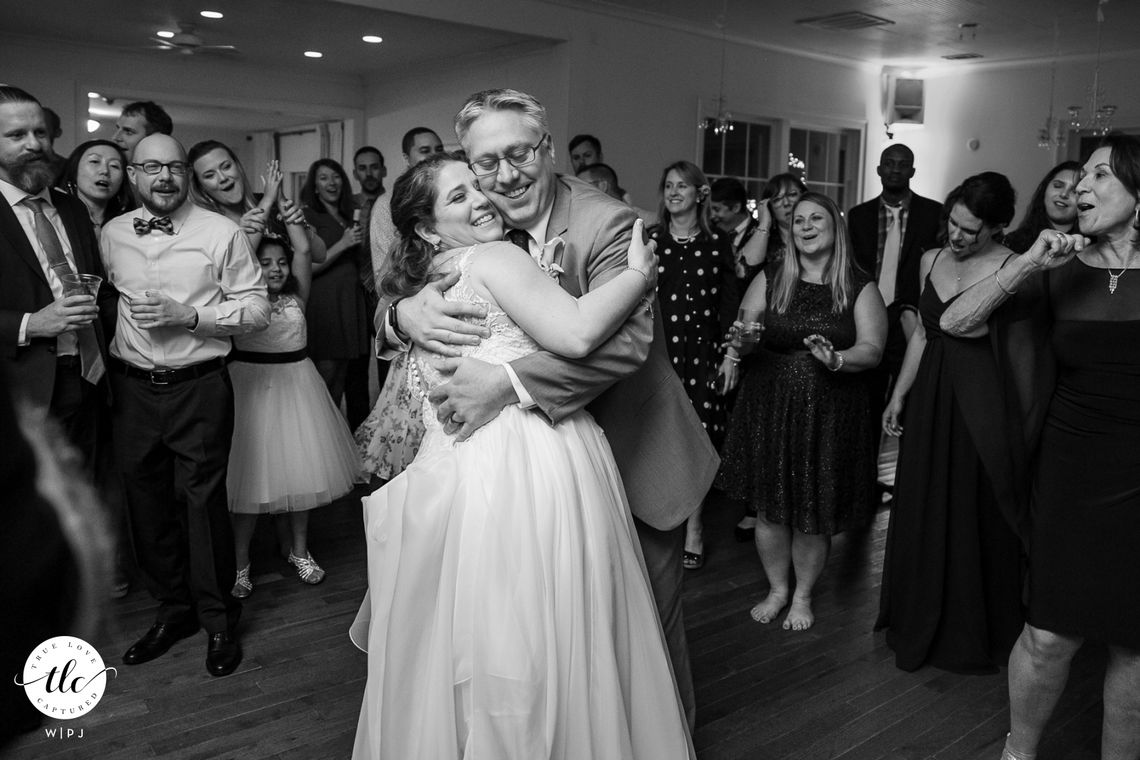 Kimball Hall, Roswell moment of true love picture of a GA Couple slow dancing in front of guests