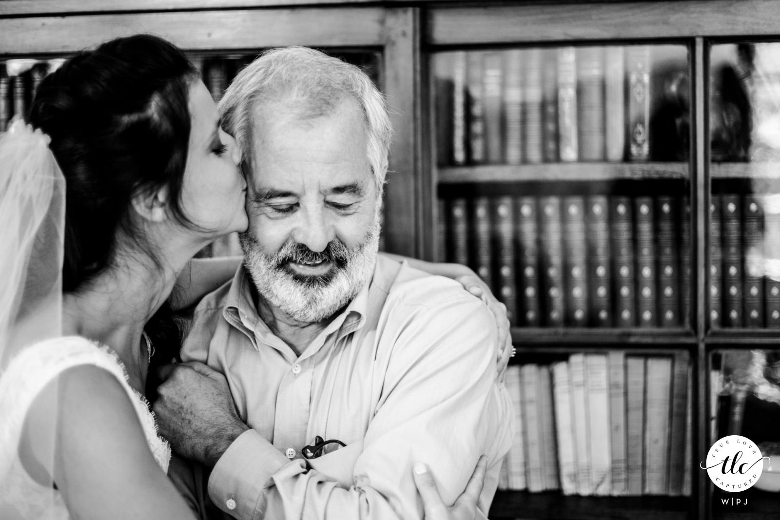 Normandie wedding image of true love showing Dad discovering his bride daughter
