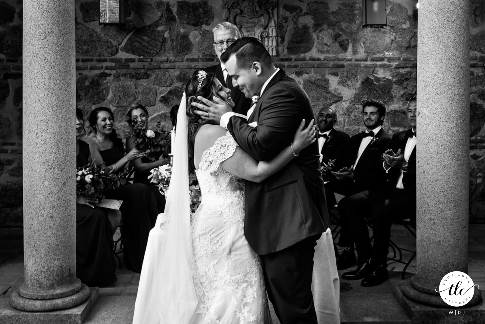 Toledo - Castilla La Mancha - Spain BW photo from a wedding moment of the First emotional real moment after marriage