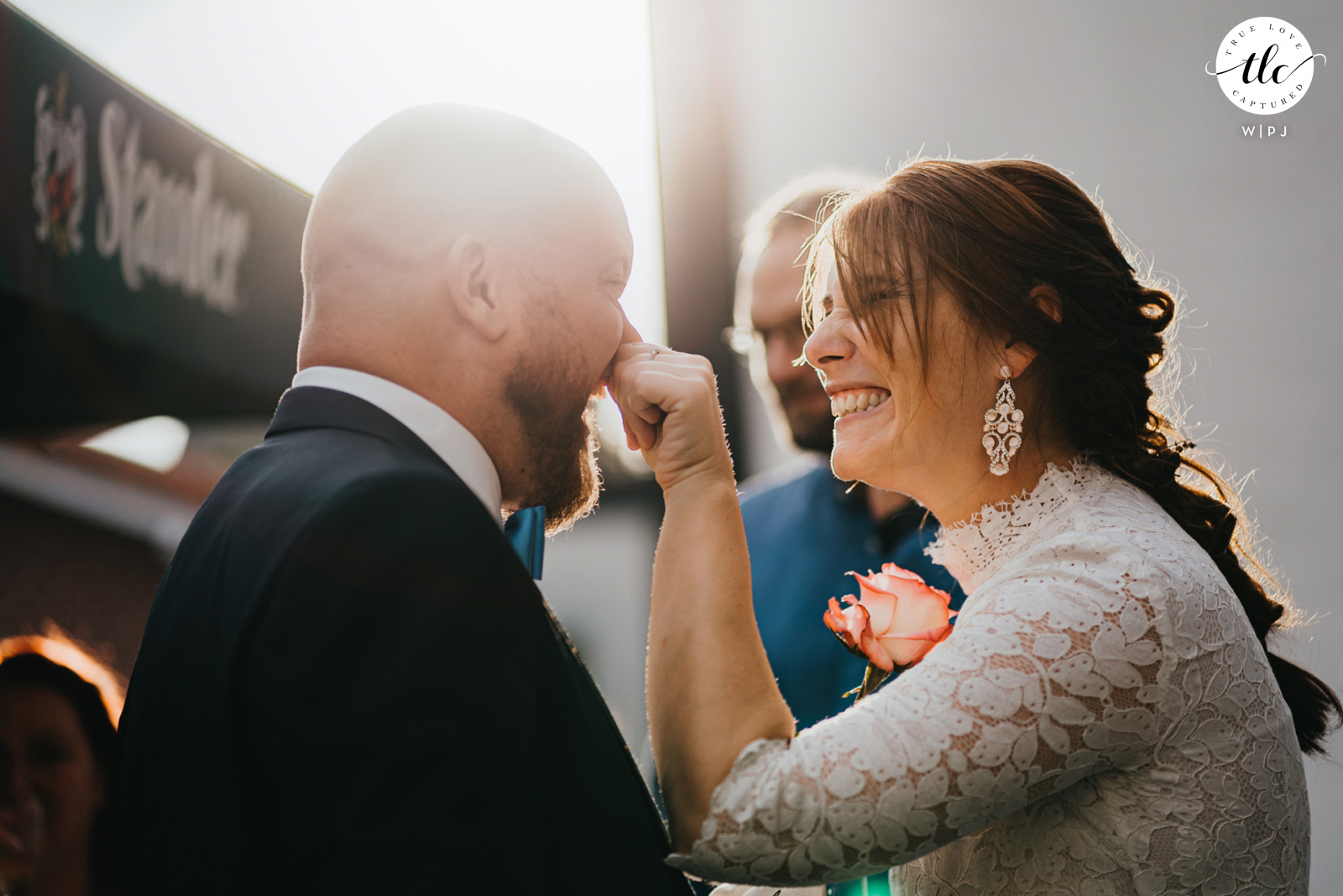 DE photography of a Recklinghausen, Germany wedding moment as the bride jokes with the groom
