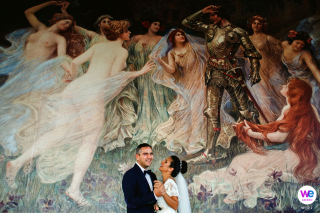 Belgrade Elopement Photographer | Hotel Moskva's lobby wall paintings for a photo session after preparations