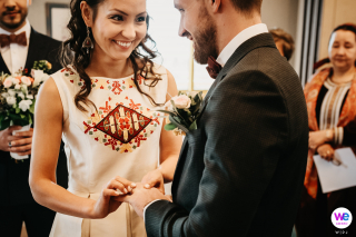 Town Hall of Angoustrine, French Catalonia Elopement Photographer | This bride and groom show off a combination of Catalan and Turkmen traditions
