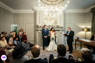 The Old Marylebone Town Hall, London Elopement Ceremony Photography | Civil marriage wedding photo of the couple at the altar