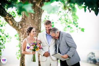 Honeywood Farm - Western Cape Elopement Photography | The officiant gives the groom a hug after a personal joke