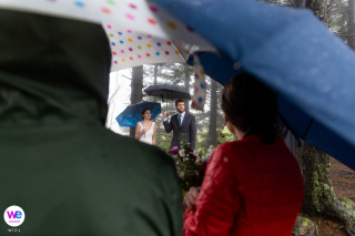 Black Balsam Knob, NC Elopement Photography | The bride, groom, and guests listen while the best man reads a poem